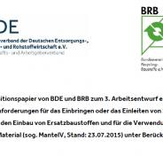 Gemeinsames Positions- und Thesenpapier von BRB und BDE zur MantelV