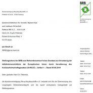 Novelle Kreislaufwirtschaftsgesetz – Stellungnahme der BRB zum Referentenentwurf des BMU